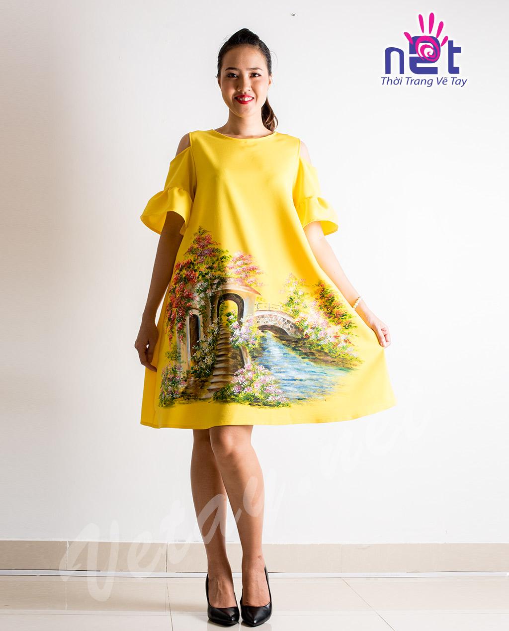 Đầm Bầu Vẽ Tay